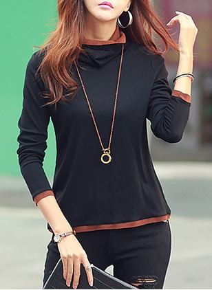 Cotton Color Block Others Long Sleeve Casual T-shirts