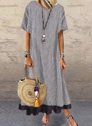 Casual Plaid Tunic Round Neckline Shift Dress (4662507)