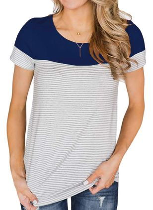 Stripe Round Neck Short Sleeve Casual T-shirts