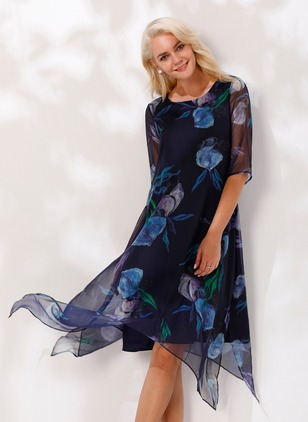 Floral Half Sleeve Knee-Length A-line Dress