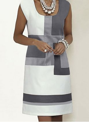 Casual Color Block Tunic Square Neckline Shift Dress (4037365)