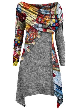 Casual Floral Tunic Round Neckline Shift Dress (1485592)