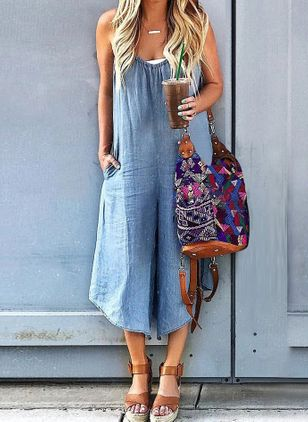 Casual Straight High Waist Denim Jumpsuits Pants (4047370)