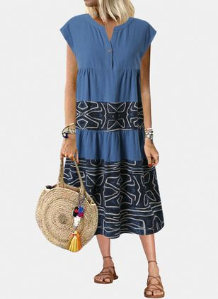 Casual Geometric Tunic Round Neckline A-line Dress (4072126)