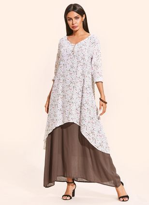 Plus Size Casual Floral V-Neckline Midi X-line Dress (1329203)