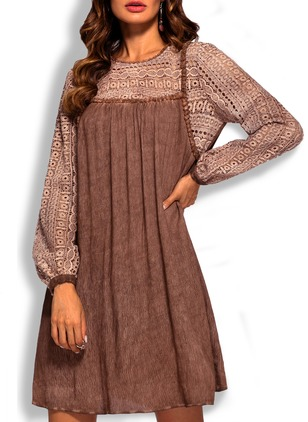 Cotton Solid Hollow Out Long Sleeve Shift Dress
