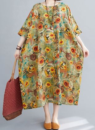Plus Size Tunic Floral Round Neckline Casual Midi Plus Dress (4049380)