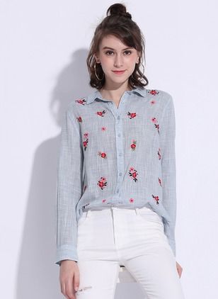 Polyester Floral Collar Long Sleeve Casual T-shirts