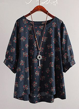 Plus Size Floral Casual Round Neckline 3/4 Sleeves Blouses