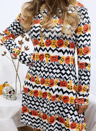 Halloween Geometric Tunic Round Neckline Shift Dress (111109612)