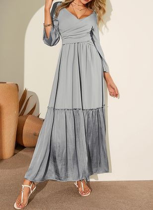 Casual Solid V-Neckline Maxi X-line Dress (1359899)