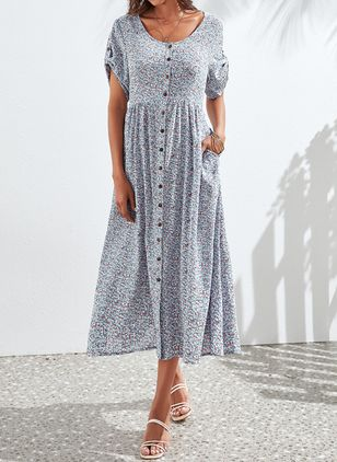 Elegant Floral Tunic V-Neckline Shift Dress (4369482)