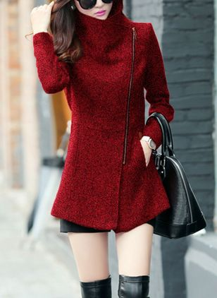 Long Sleeve High Neckline Zipper Peacoats