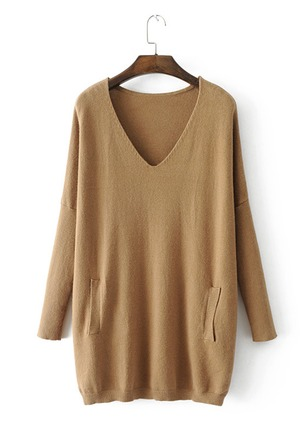 Cotton Blends V-Neckline Solid Loose Pockets Sweaters