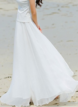 Chiffon Solid Maxi Casual None Skirts