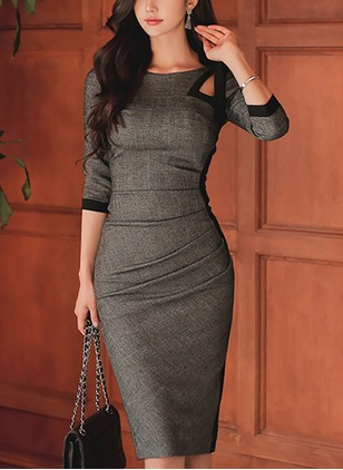 Color Block Pencil 3/4 Sleeves Knee-Length Sheath Dress