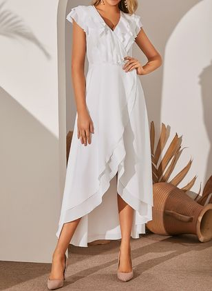 Elegant Solid V-Neckline High Low X-line Dress (1286717)