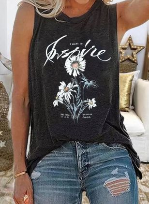 Floral Round Neck Sleeveless Casual T-shirts (4072943)