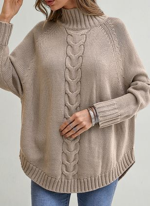 High Neckline Solid Casual Loose Shift Sweaters (1352923)