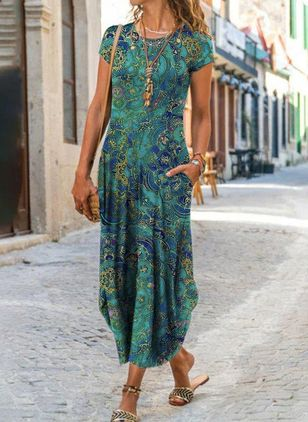 Casual Floral Round Neckline Maxi X-line Dress (147036602)