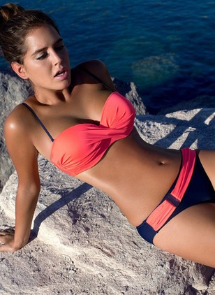 Polyester Halter Color Block With Rim Bikinis Swimwear