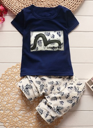 Boys' Floral Daily Short Sleeve Clothing Sets