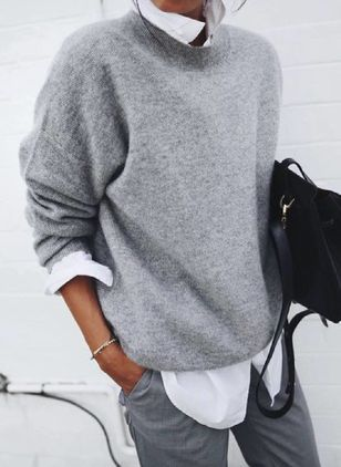 Collar Color Block Elegant Loose Regular Sweaters