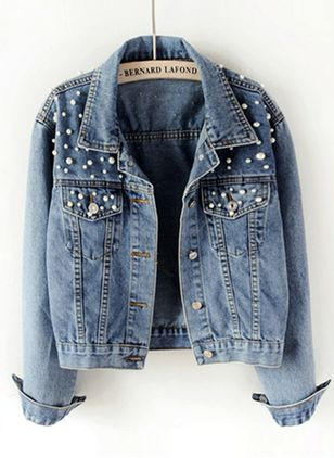 Long Sleeve Collar Denim Jackets Coats