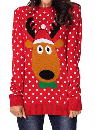 Animal Christmas Round Neckline Long Sleeve Blouses