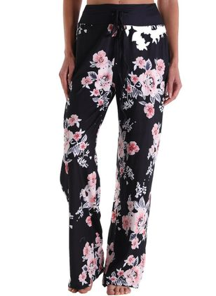 Casual Loose High Waist Cotton Blends Pants (147193091)