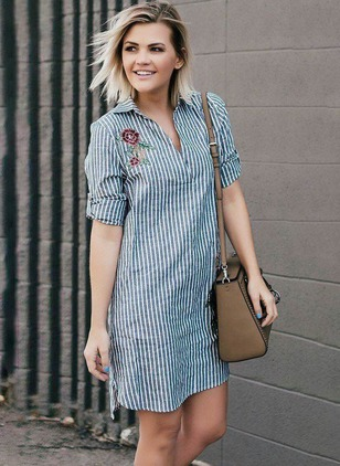 Floral Buttons Shirt Above Knee Shift Dress