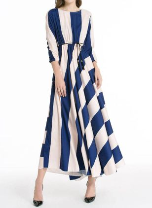 Casual Color Block Wrap Round Neckline X-line Dress (110711981)