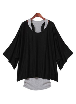 Polyester Solid Round Neck Long Sleeve T-shirts