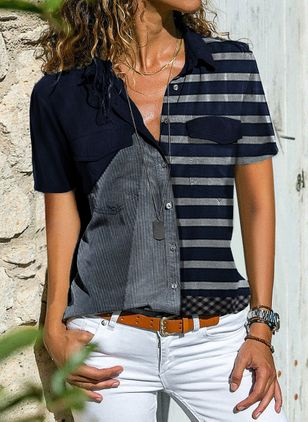 Color Block Casual Krage Kort erm Bluser (1514740)