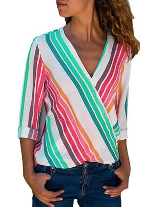 Stripe Casual V-Neckline 3/4 Sleeves Blouses