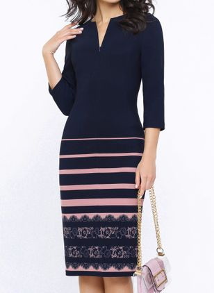Elegant Color Block Pencil V-Neckline Bodycon Dress