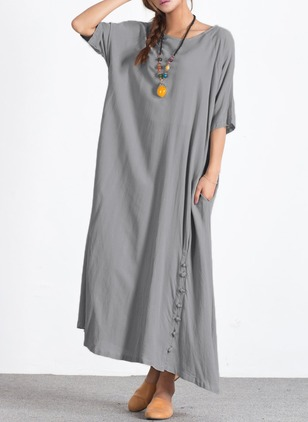 Cotton Linen Solid Half Sleeve Maxi Casual Dresses  ...
