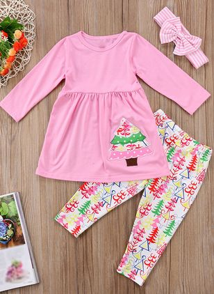 Girls' Basic Color Block Daily Long Sleeve Clothing Sets