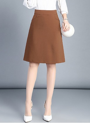 Polyester Solid Knee-Length Skirts