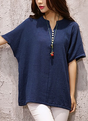 Linen Solid Round Neck Half Sleeve T-shirts