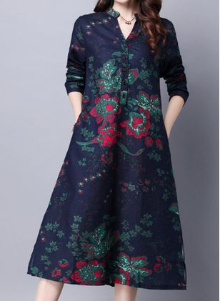 Chinese Casual Floral Tunic Round Neckline A-line Dress (107520110)