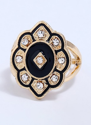 Floral Round Crystal Rings Single