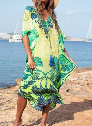 Plus Size Cover-Ups Cotton Natural Waist Tassels Floral Plus Swimwear (1516932)