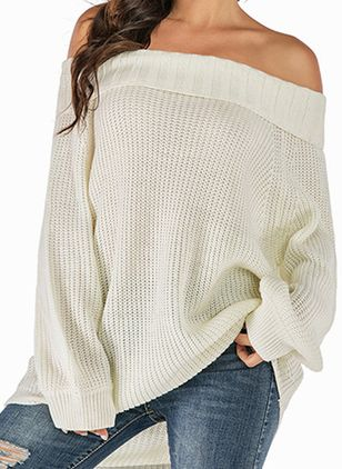 Off the Shoulder Solid Casual Loose Regular Shift Sweaters (101193187)