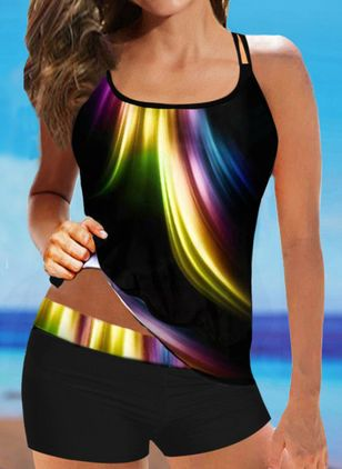Polyester Color Block Tankinis Swimwear (147137541)
