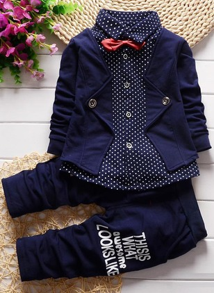 Boys' Casual Polka Dot School Long Sleeve Clothing Sets