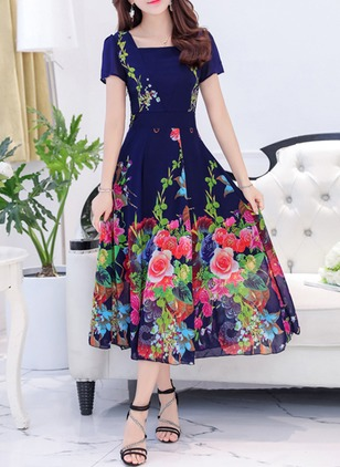 Floral Ruffles Cap Sleeve Midi A-line Dress