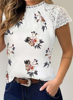 Floral Round Neck Short Sleeve Casual T-shirts (4089072)