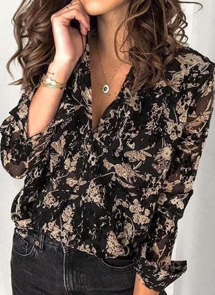 Floral Casual V-Neckline Long Sleeve Blouses (5121563)