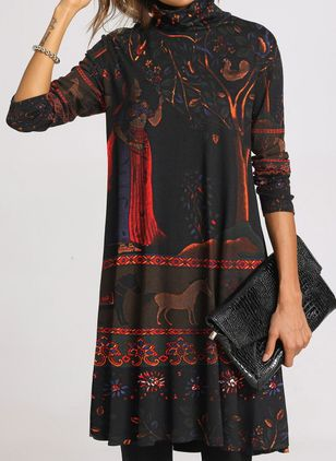 Casual Floral Tunic High Neckline Shift Dress